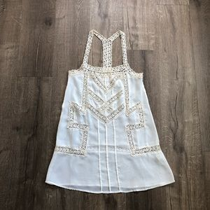 UO Pins & Needles Ivory Sheer Crochet Knit Blouse